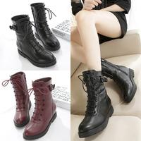 韩版短靴秋冬新款酒红色英伦平跟低跟厚底时装靴女靴马丁靴高帮鞋