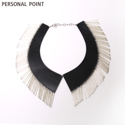 Sowing personal point2014 autumn fashion round collar fake leather tassel decoration free shipping