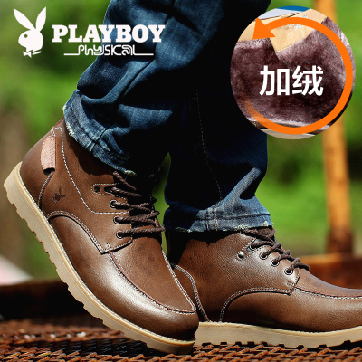 Playboy male plus velvet Martin boots snow boots warm boots for men of England tide male high-top cotton-padded boots