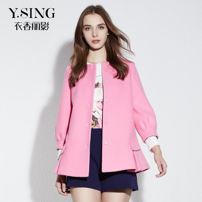 衣香丽影2015冬装新款 韩版女装茧型中长款羊毛呢子外套大衣女厚