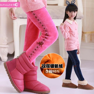 Kids girls winter thick velvet leggings children Dongkuan gold velvet pants big virgin cotton cultivation