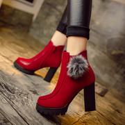 2018欧美靴子女短靴短筒黑红粗跟马丁靴高跟鞋皮靴英伦风