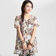 The new 2015 ms summer wear loose cotton shirts with short sleeves flax T-shirt shirt floral blouse YF - 72 big yards