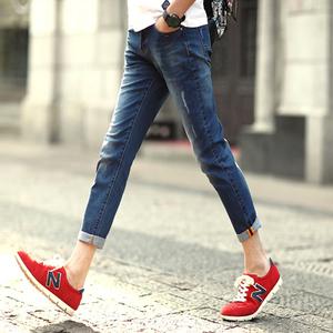 男士牛仔裤夏季薄款九分裤男 小脚青少年英伦弹力修身休闲9分裤子