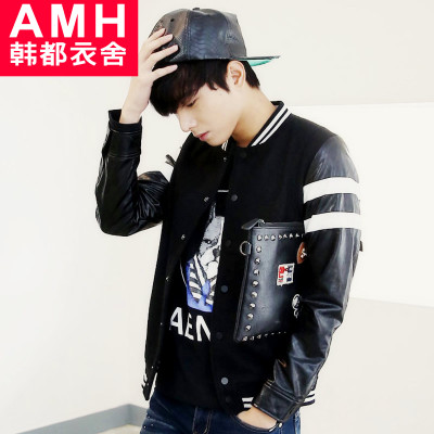AMH Men Korean version of the 2015 spring new Slim PU baseball collar spell color jacket NR4152 Peng