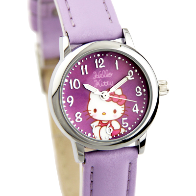 Hello kitty cartoon girls genuine leather belt fashion girl pupils Kitty watches