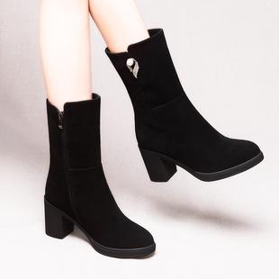 真皮加绒棉鞋高跟靴子女中筒2018秋冬女鞋防水台粗跟短靴女马丁靴
