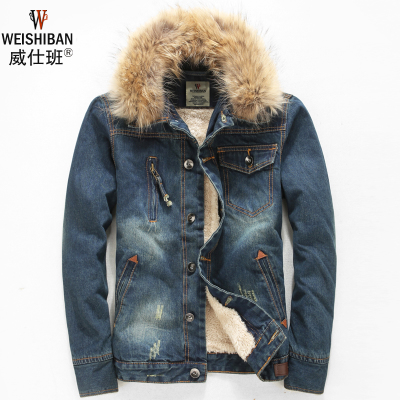2014 new winter plus velvet thick denim jacket denim jacket male Korean real fur collar vintage jeans tide