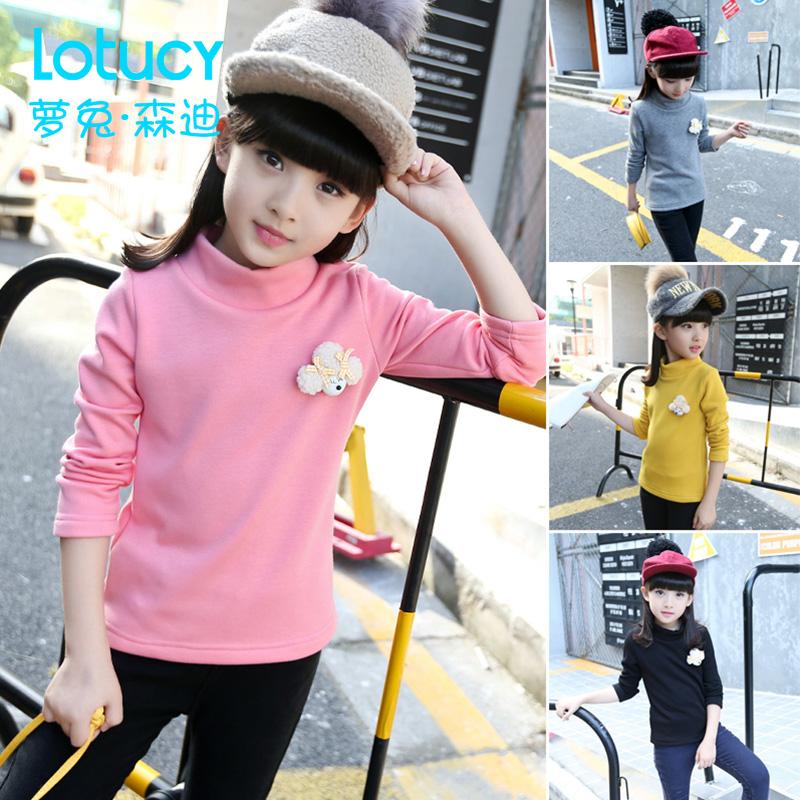 儿童打底衫女童时尚春装新款女大童韩版中大童装上衣高领套头卫衣