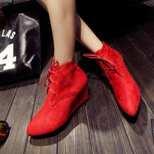 Europe and the United States of new fund of 2014 autumn winters tide restoring ancient ways of England pointed wedges with han edition fashion female naked short boots boots