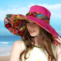 帽子女秋春夏天出游遮阳帽防晒防紫外线可折叠沙滩大沿度假太阳帽