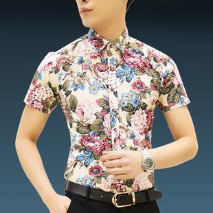 夏季男士短袖衬衫碎花衬衣印花半袖寸衫潮男装 薄