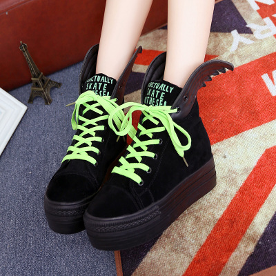 Korean tidal shoes high shoes casual shoes lace wings shoes Winter female models thick crust platform shoes student shoes winter