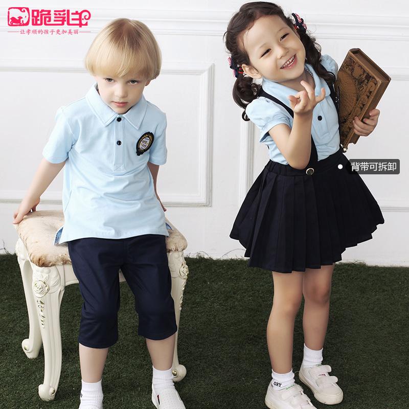 新款幼儿园园服夏装英伦深圳修身儿童校服套装小学生班服短袖夏天