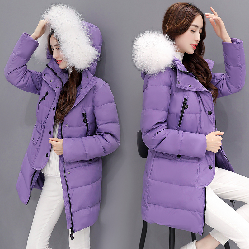 【反季清仓】羽绒服女中长款韩国修身大毛领韩版加厚收腰女装外套