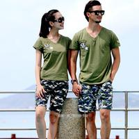 沙滩情侣装夏装2015纯棉短袖t恤男女迷彩裤大码v领海边套装新款潮