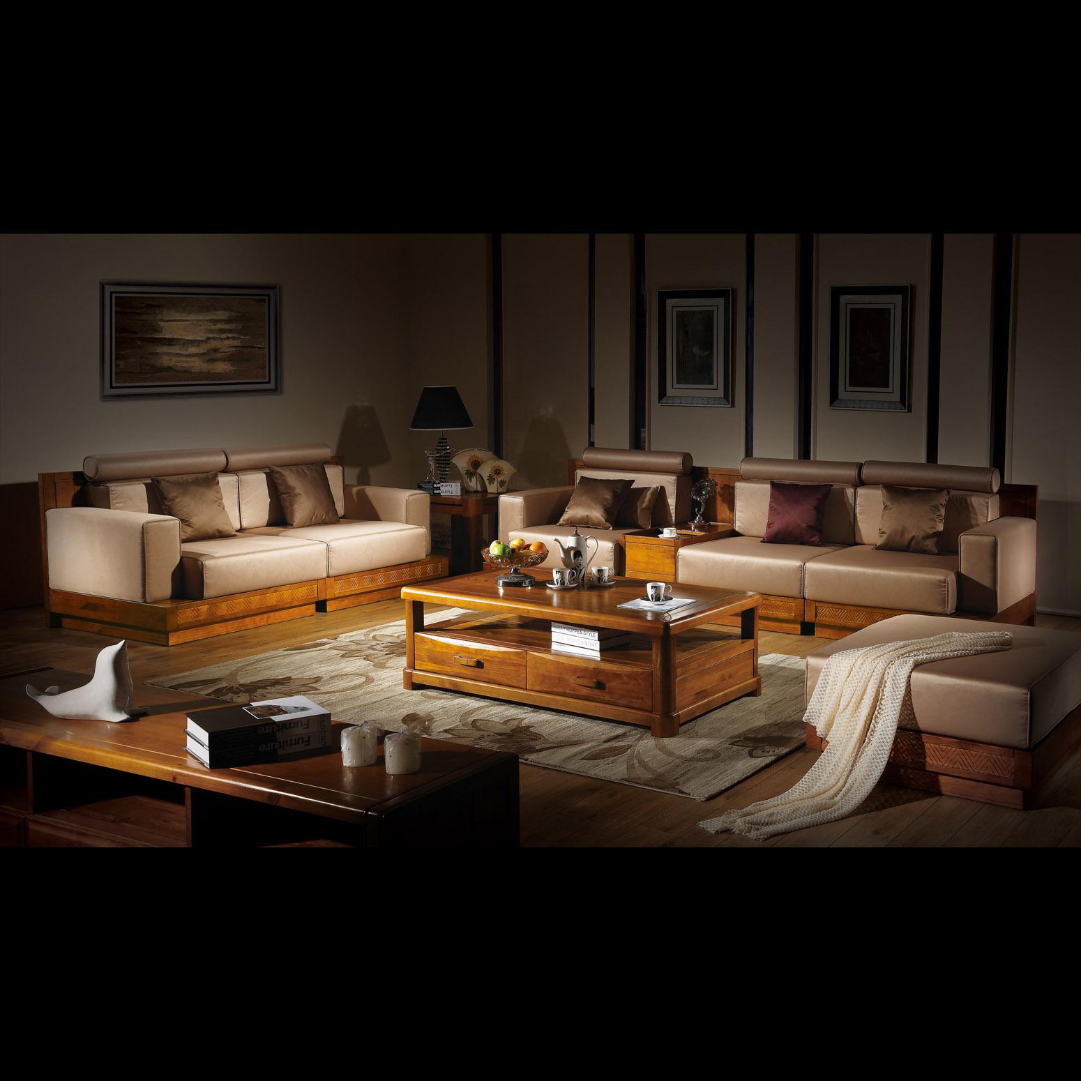 现代简约家具_全实木纯原木简约现代中式客厅家具小户型布艺拆洗宜家沙发组合