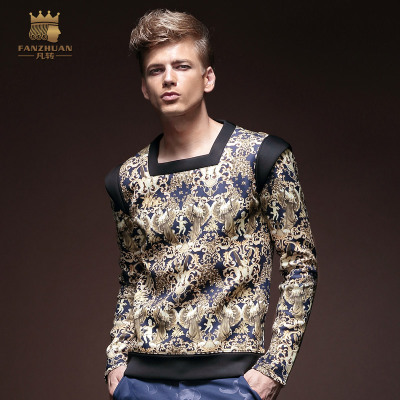 Where a new turn in autumn 2014 influx of men printed t-shirt long-sleeved T-shirt air layer warm ultralight models XL T-shirt men