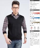 男士保暖衬衫男长袖中年假两件加厚衬衣精纺威尔豪斯顿