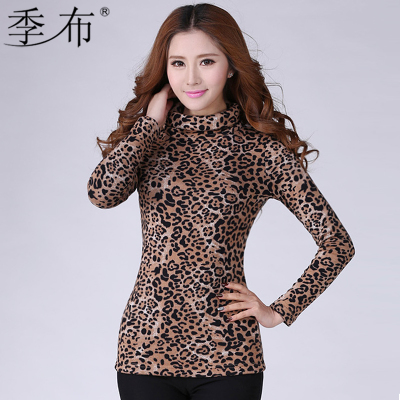 2015 new long-sleeved shirt Slim large size women plus thick velvet leopard sweater with high collar bottoming shirt warm t-shirt