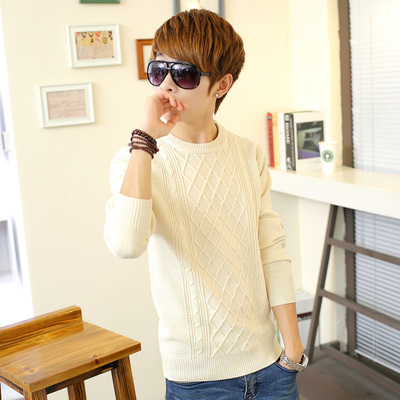 Men hedging thick winter sweater round neck sweater tide male Korean middle school youth sweater winter models