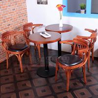 复古 星巴克桌椅 咖啡厅桌椅茶餐厅奶茶甜品店西餐厅实木扶手桌椅