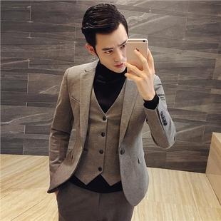 春秋男士西装套装发型师西服三件套结婚礼服小码男装潮流