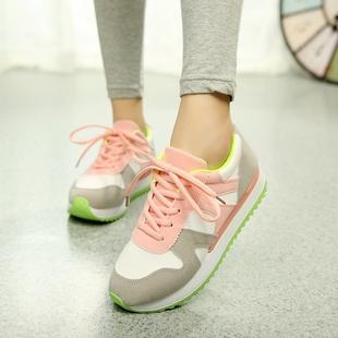厚底运动阿甘三条杠n字母女鞋跑鞋拼色鞋松糕跟鞋女