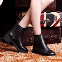 短靴女马丁靴女2015 欧美风粗跟厚底高跟防水台短筒靴子冬季女鞋
