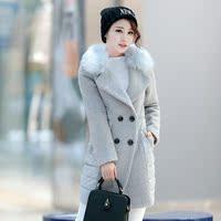 2015冬季新款韩版修身羽绒棉服女中长款毛呢拼接女棉衣羊绒大衣