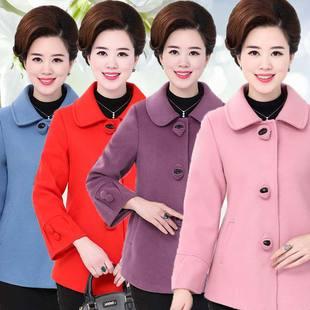 卡缇丹妈妈装春秋装毛呢外套短款40-50岁中老年女装中年呢子大衣