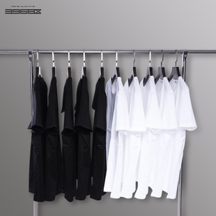 200g美国棉白色T恤男短袖 纯色黑色打底衫纯棉宽松纯白半截袖衣服