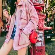粉色牛仔外套女2018春秋季宽松中长款百搭欧货早秋外套女套潮