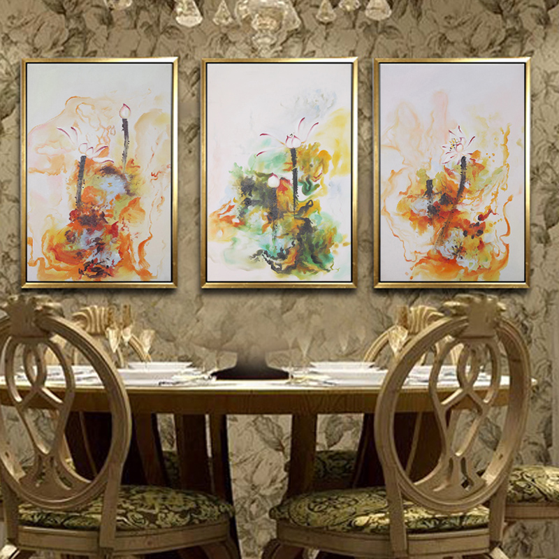 尚得堂纯手绘油画抽象风景壁画现代装饰画中式客厅挂画卧室三联画图片