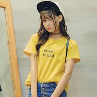 2016夏装新款韩版百搭字母印花短袖T恤女上衣粤潮特惠包邮