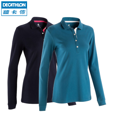 Decathlon women's long sleeve golf shirt POLO POLO shirt lapel long-sleeved T-shirt and comfortable INESIS