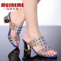 musbeme2015夏季新款水钻女凉鞋性感粗跟时尚拖鞋高贵奢华凉拖鞋
