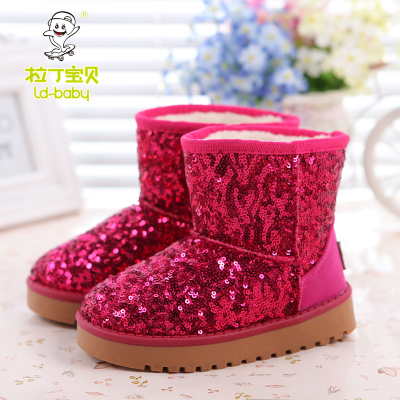 Latin baby girls shoes sequined boots snow boots in tube parenting children padded winter snow boots boys