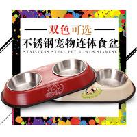 不锈钢狗碗双碗猫碗宠物日用品食盆防滑吃饭喝水两用碗防打翻防滑