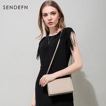 圣蒂梵2017新款女包斜挎包小包包时尚铆钉单肩包牛皮迷你小方包潮