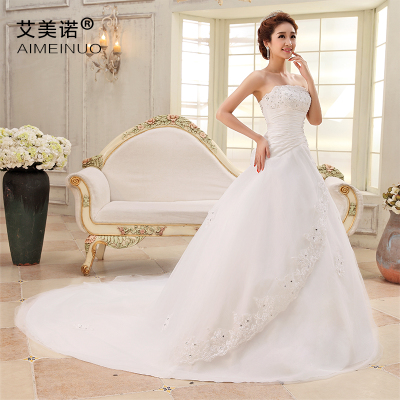 Trailing wedding dress 2014 new Korean version of Slim was thin winter wedding dress Bra straps Qi paragraph