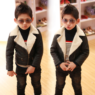 Kankan tide products Kids winter coat 2014 new wave of Korean boy children plus velvet thick leather jacket