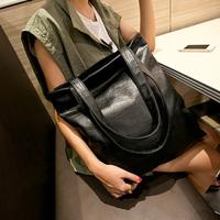 2015新款欧美潮女包黑色PU皮购物袋潮流极简大包简约百搭单肩包
