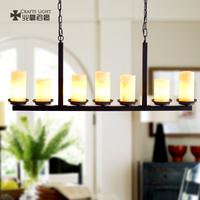 新中式吊灯美式乡村别墅咖啡馆酒吧台灯现代简约餐厅7头5头长吊灯