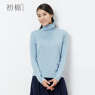 Early autumn 2014 models for ladies cotton solid color T-shirt lady autumn high collar bottoming hedging long-sleeved shirt female autumn Slim