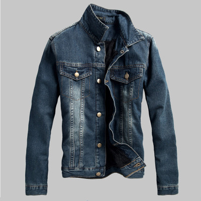 Spring 2015 new men's denim clothing clip gram velvet jacket leisure thick lamb's wool coat influx of men