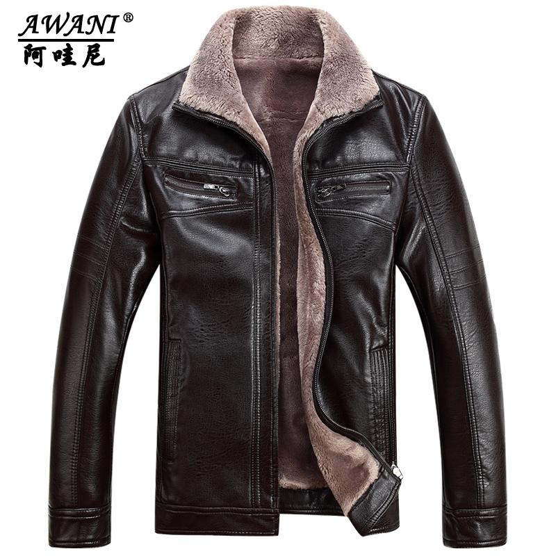 冬装加肥加大真皮皮衣男士皮毛一体中年男皮衣外套加厚翻领皮夹克