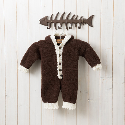 Wool material bag baby bunny Teddy Bear Children's autumn and winter climbing clothing jumpsuit knitting wool weaving