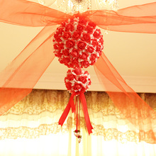 The wedding garland marriage room layout decoration supplies New pull xi yarn red gauze curtain is hanged adorn yarn package