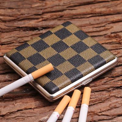 酷宝20支装烟盒便携男个性创意皮烟盒金属香菸盒烟夹防压烟盒超薄